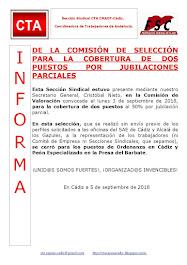 DE LA COMISIÓN DE SELECCIÓN PARA LA COBERTURA DE DOS PUESTOS POR JUBILACIONES PARCIALES