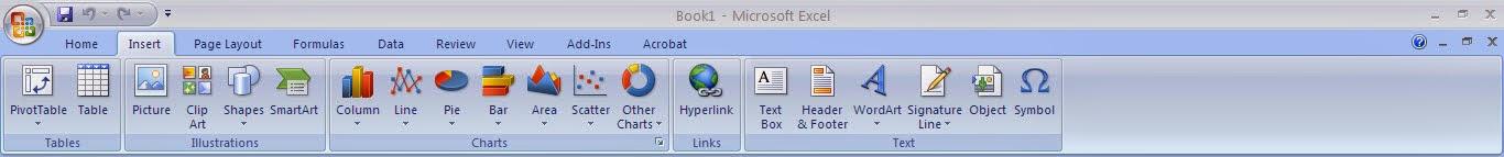 Tutorial Excel 2007 : Fungsi Menu Insert
