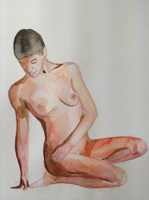 acuarela de desnudo femenino copia de una foto
