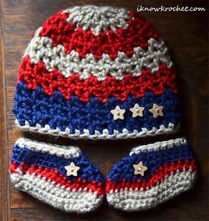 patriotic beanie and booties set
