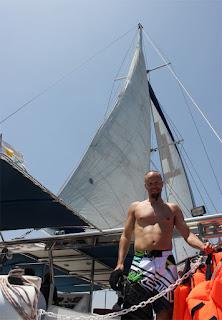 Me on a Catamaran, I love water and sailing!
