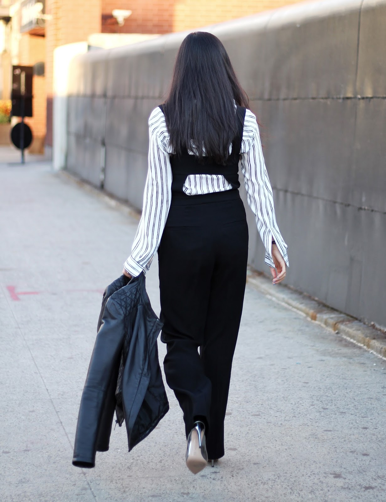 ALC reed jumpsuit striped black and white blouse Gianvito Rossi silver pumps