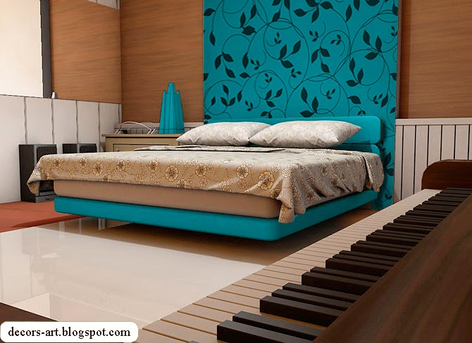 Bedroom decorating ideas turquoise decorsart for Turquoise wallpaper for bedroom