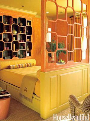 house beautiful orange daybed beehive bookcase
