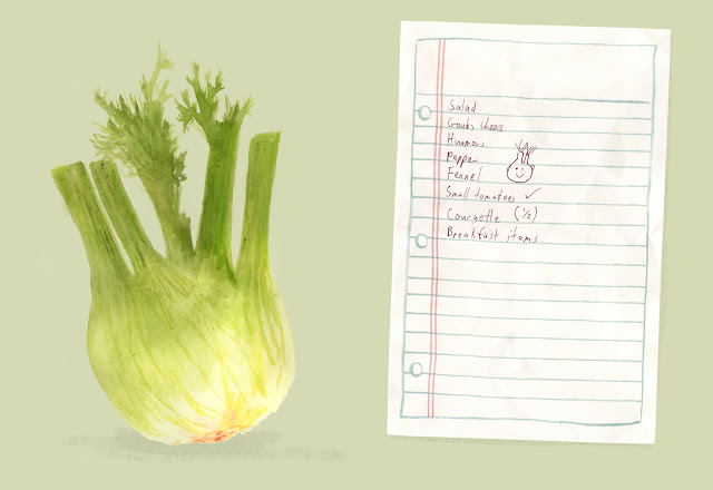 Illustrated shopping list - fennel watercolour illustration