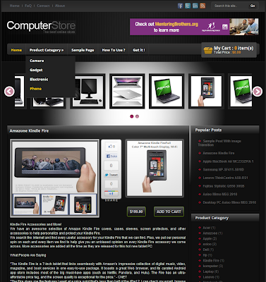 Black Computer Store Blogger Template