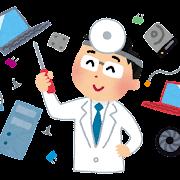 パソコンを修理するお医者さんのイラスト