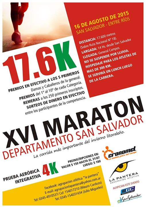 XVI MARATON Dto SAN SALVADOR
