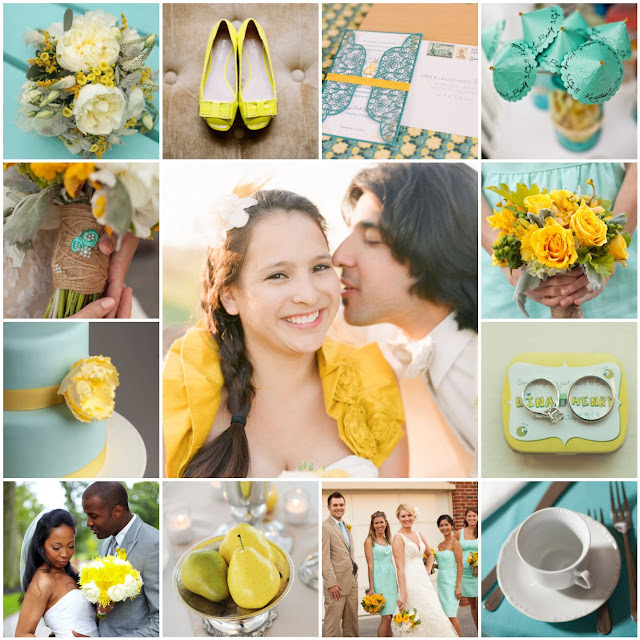 robin egg blue and yellow wedding