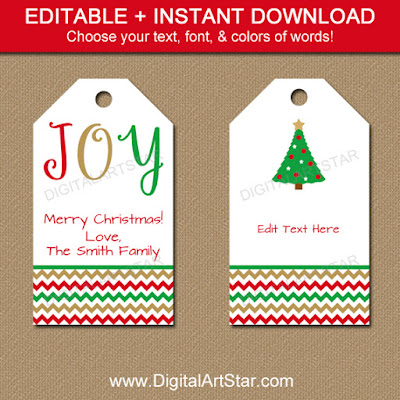 Christmas hang tags with chevron & editable text