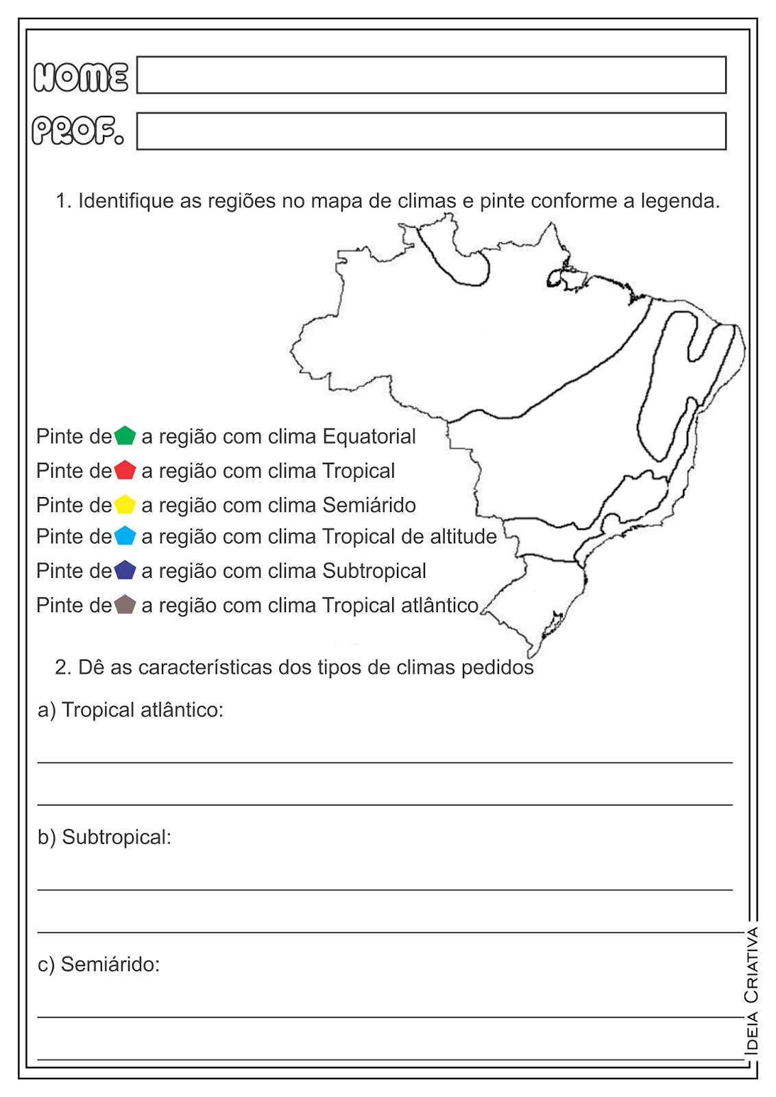 Atividades Geografia Tipos de Climas do Brasil