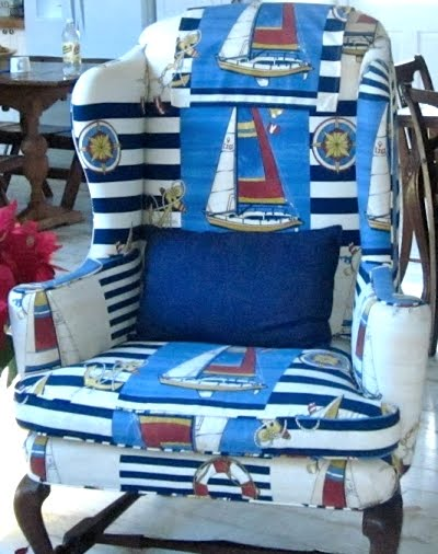 upholstered nautical chair