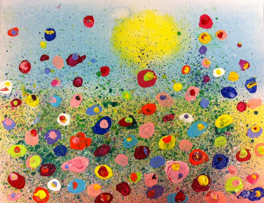 fun splatter floral paintings kids art class