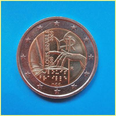 Louis Braille Italia 2009 2 Euros