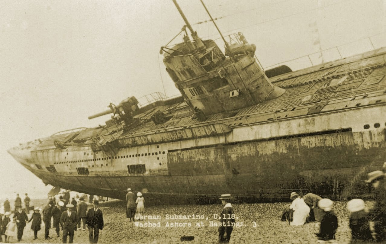 German Submarine U 118 Washed Ashore On The Beach At Hastings 1919