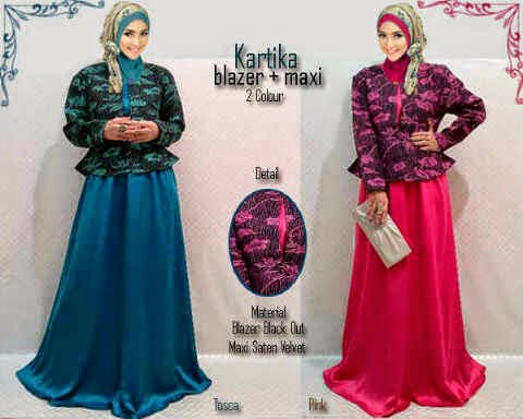 Material wide satin velved + blazer tebal halus.  Fit to XL