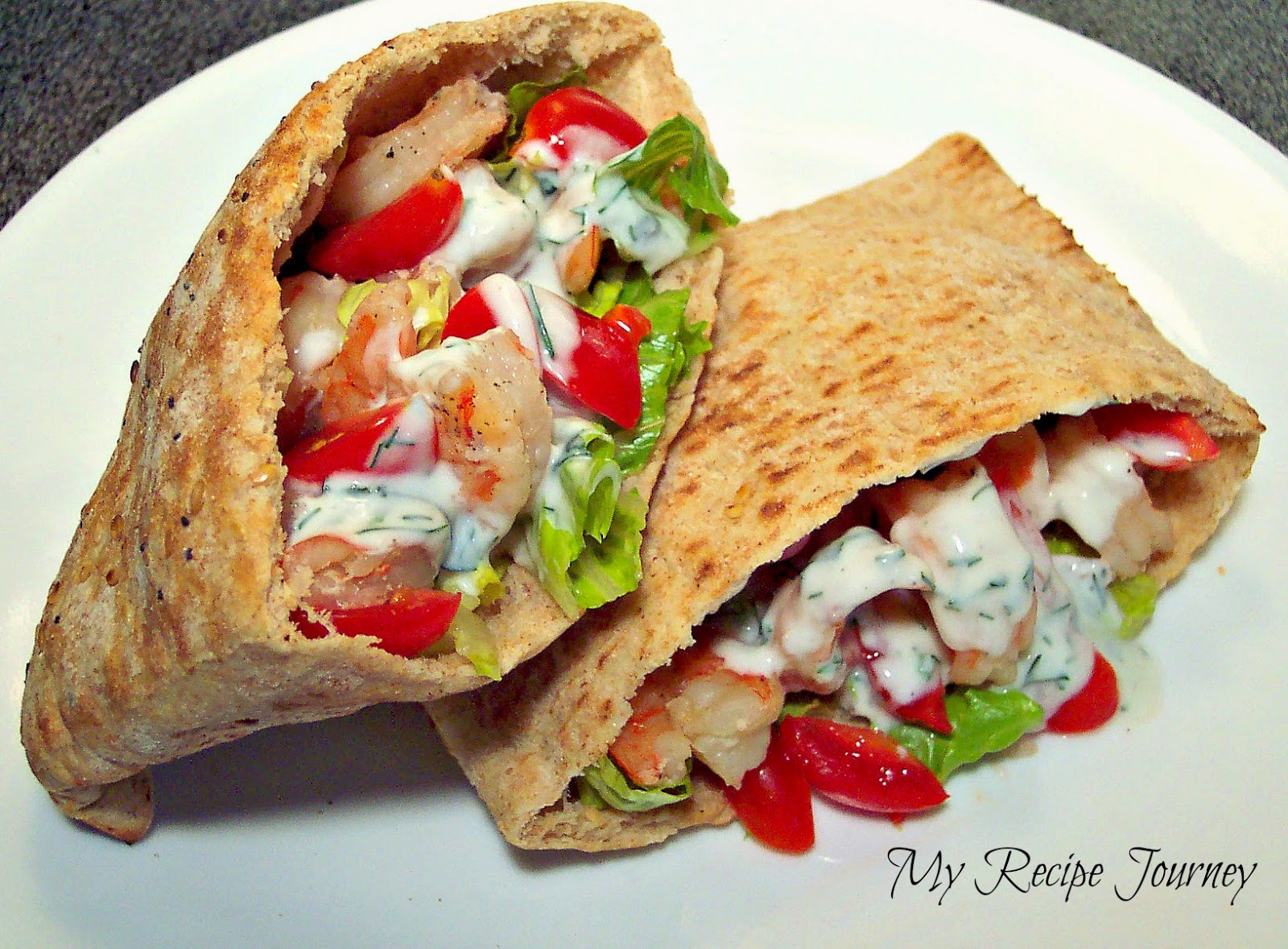 Grilled Shrimp Greek Pitas