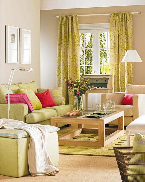 Fotos de salas decoradas modernas ideas para decorar for Cortinas verdes para salon