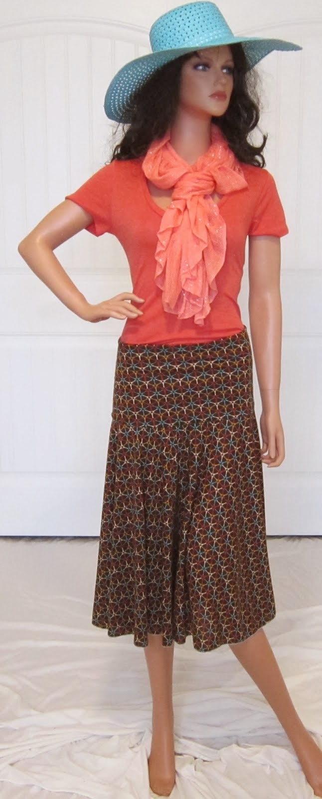Brown and Orange Western Print Full Circle Stretch Knit Jersey Midi Boot skirt