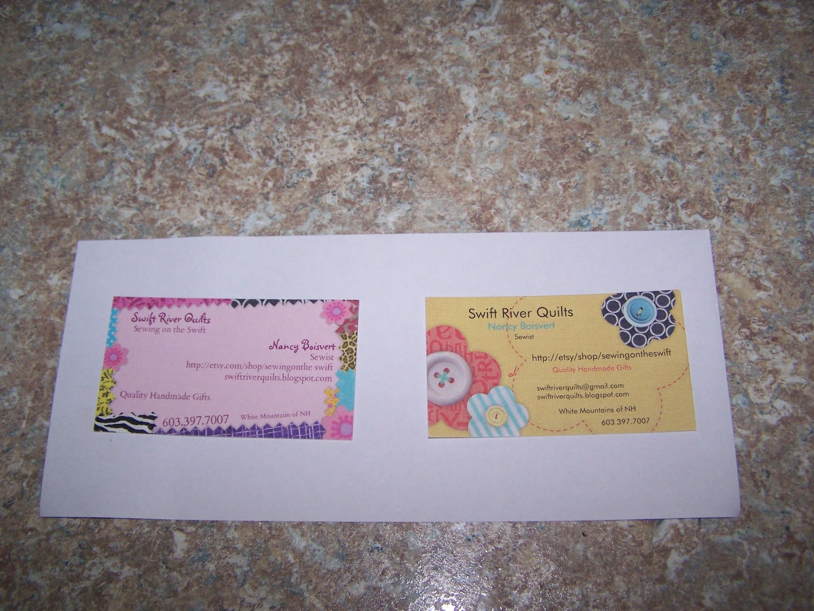 swiftriver quilting: UFO\'s, nora jean helps, business cards