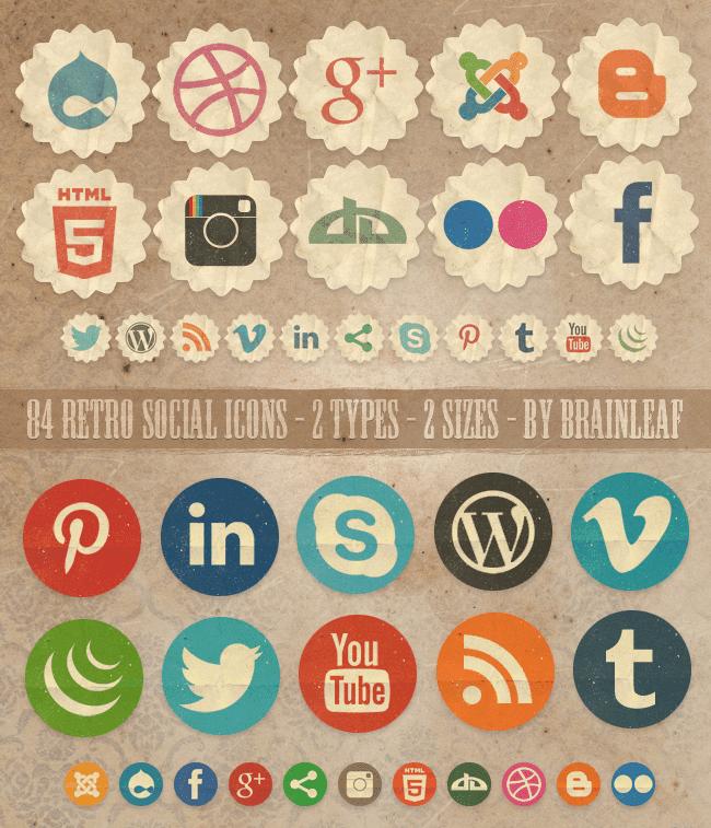 84 Free Retro Social Icons