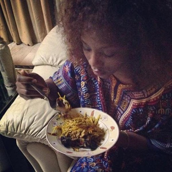 Mmm...Genevieve Nnaji Goes Local with a plate of African Salad chiomaandy.com