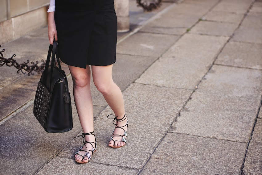 zara black and white gladiator sandals