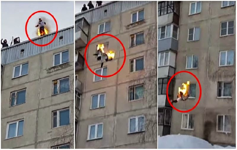 Gila! Orang Ini Bakar Diri Kemudian Lompat Dari Atas Gedung