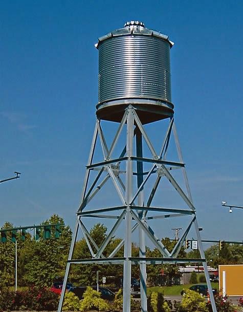Silindirik Kule üstü paslanmaz su deposu