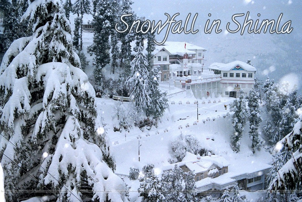 Popular Tourist Destination Shimla and their surroundings Snowfall