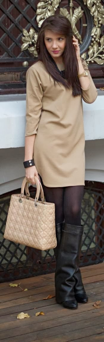 Camel Color Simple Dress With Black Leging And Black Boots