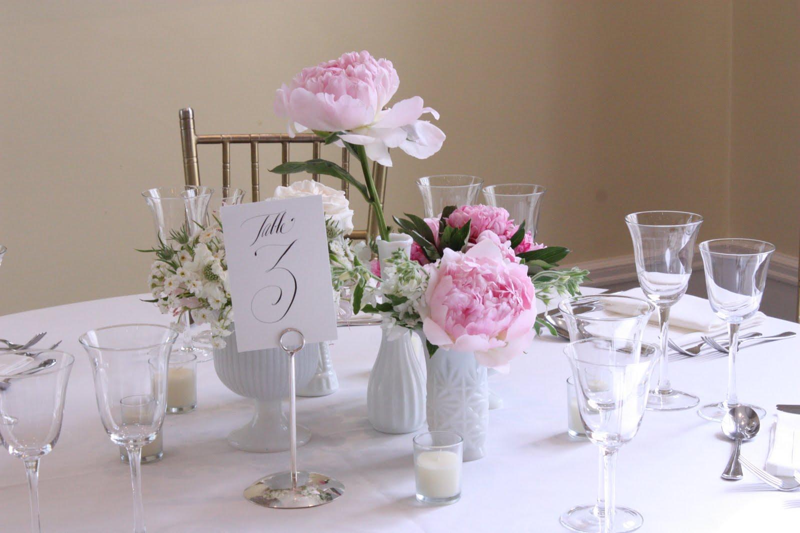 Blush floral design milk glass wedding at wadsworth mansion for Glass wedding centerpieces