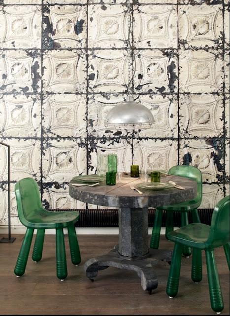 Empapela tus paredes con azulejos envejecidos ny style - Papel pintado sobre azulejos ...