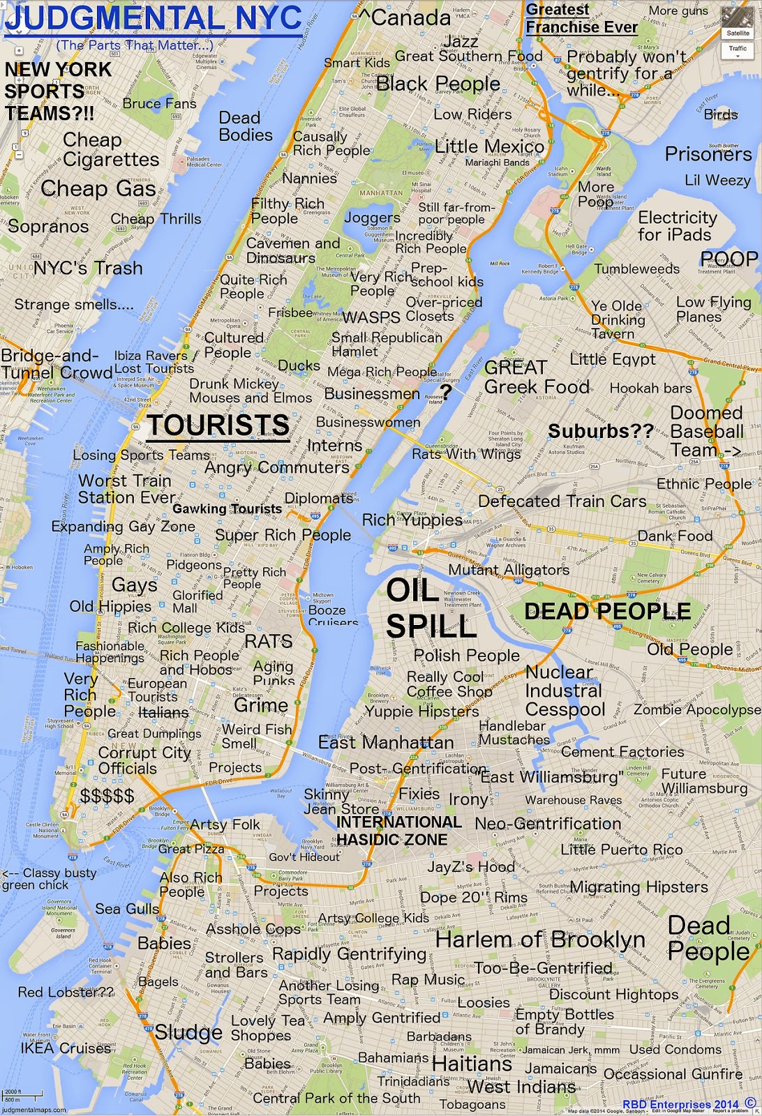 Roosevelt Islander Online Judgmental Map Of New York City - New york city map with neighborhoods