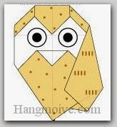 Bước 17: Vẽ mắt để hoàn thành cách xếp con chim cú mèo bằng giấy theo phong cách origami.