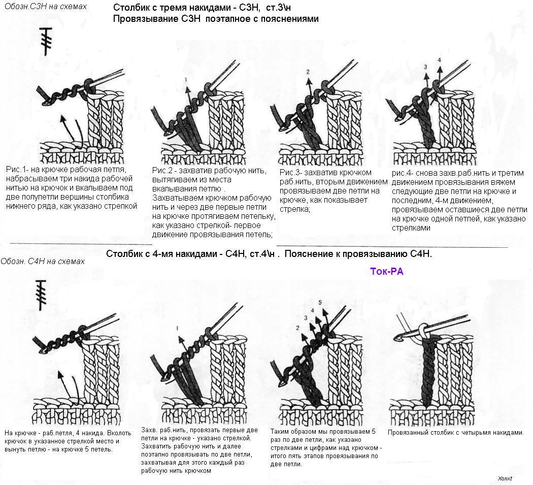 Вязание крючком столбики с одной вершиной как 56
