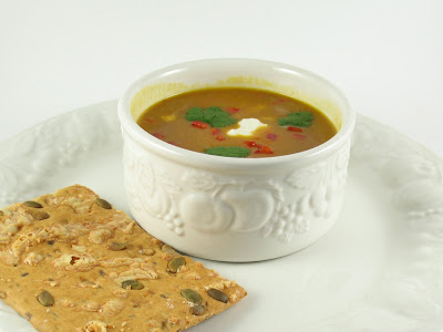 curried pumpkin soup w/ flatbread