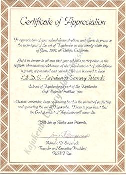 Certificado de Apreciación