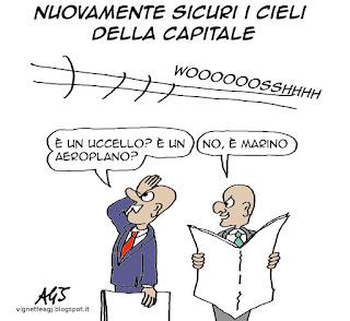 Marino, Roma, sicurezza, satira vignetta