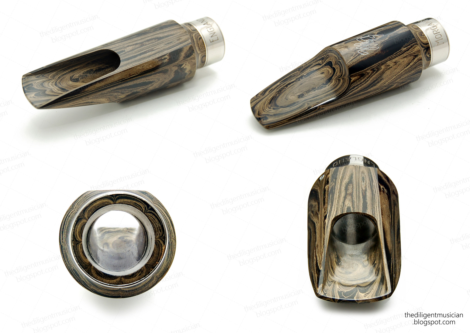 Photo montage of the Morgan Fry Ebonite Alto Saxophone Mouthpiece