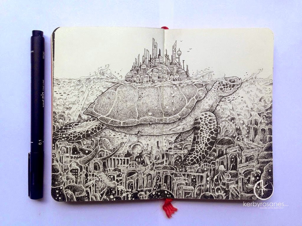 17-Lost-City-Kerby-Rosanes-Detailed-Moleskine-Doodles-Illustrations-and-Drawings-www-designstack-co
