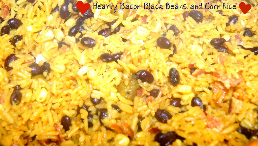 ... !: Hearty and Delicious Spanish Rice with Bacon, Black Beans and Corn