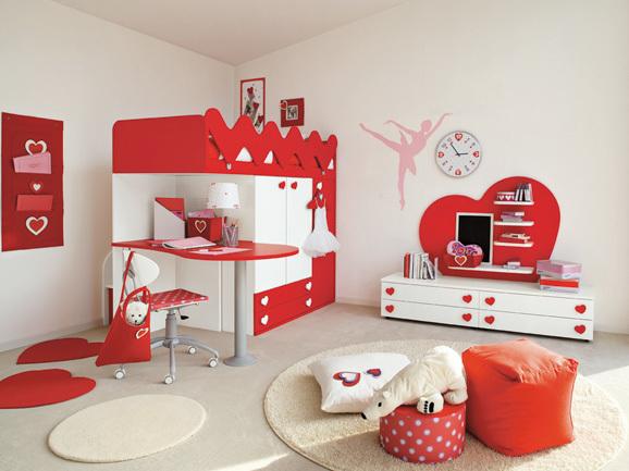 Hermoso Dormitorio Para Nia En Colores Rojo Y Blanco Compuesto Por