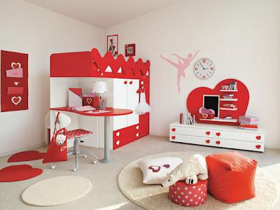 dormitorio rojo blanco niña