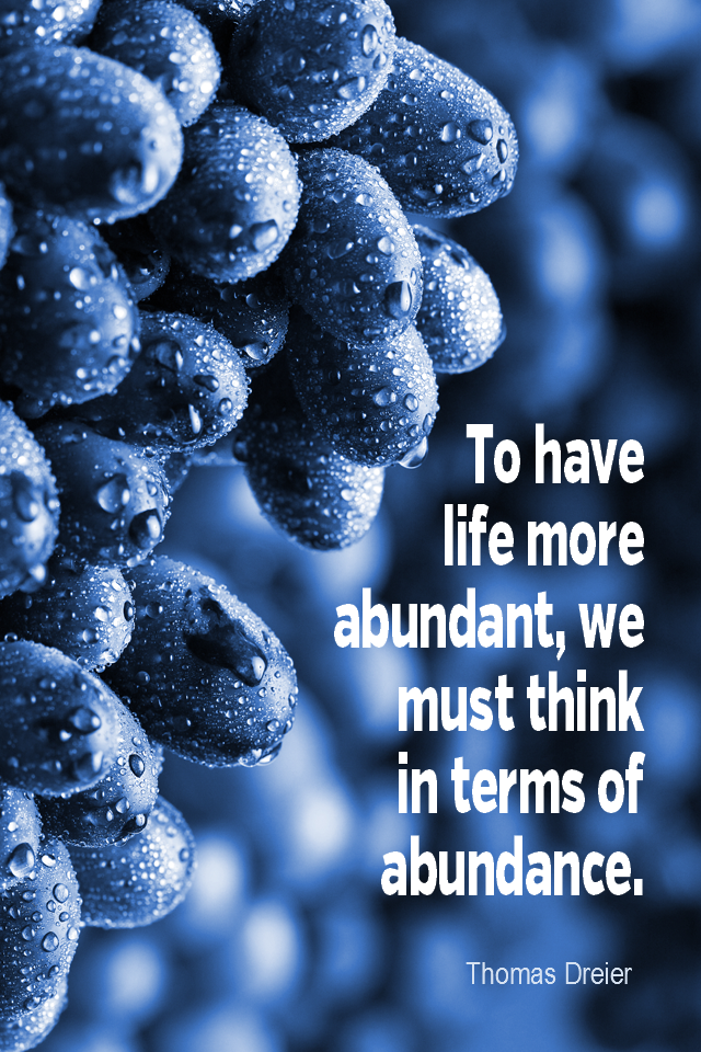 visual quote - image quotation for ABUNDANCE - To have life more abundant, we must think in limitless terms of abundance. - Thomas Dreier
