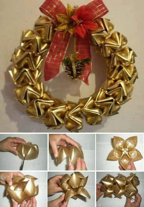 Corona de navidad con botellas de pl stico manualidades paso a paso - Manualidades de navidad paso a paso ...