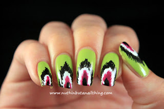 Ikat pattern manicure