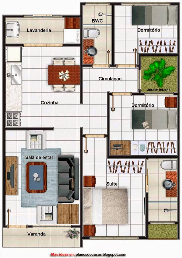 Plano de casa moderna de 69 m2 planos de casas gratis y - Distribuciones de casas modernas ...