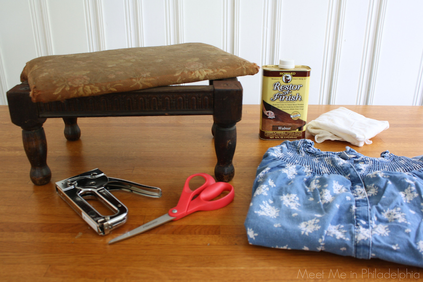 Supplies to reupholster footstool via Meet Me in Philadelphia