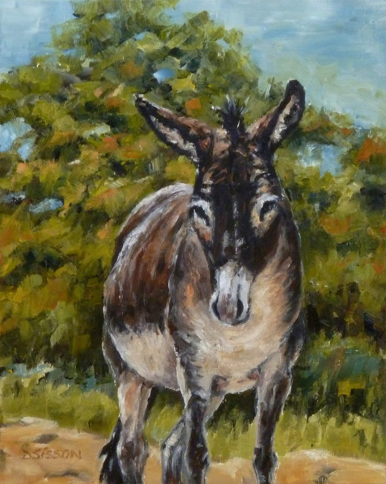 Daily painting projects hillside donkey oil painting for Animal oil paintings